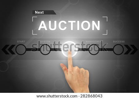 hand clicking auction button on a touch screen - stock photo