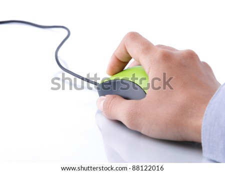hand clicking computer mouse isolated over white background - stock photo