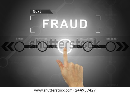 hand clicking fraud button on a touch screen - stock photo