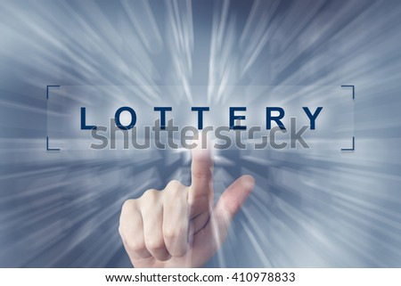 hand clicking on lottery button with zoom effect background - stock photo