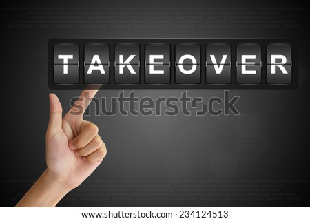 hand clicking takeover on Flip Board Display - stock photo