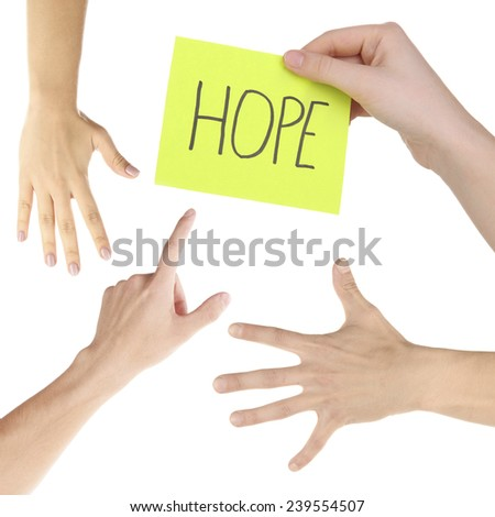 Hand collage, gestures set and hands with cards isolated on white - stock photo