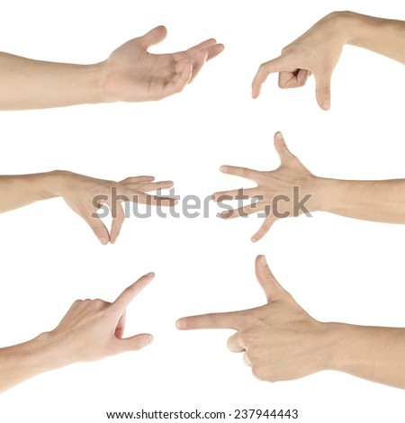 Hand collage, gestures set isolated on white - stock photo