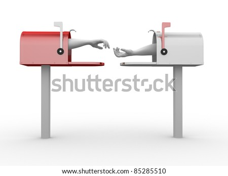 Hand coming out of a mailbox. This is a 3d render illustration - stock photo