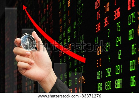 hand,compass and stock market : Concept Risk of the investment - stock photo