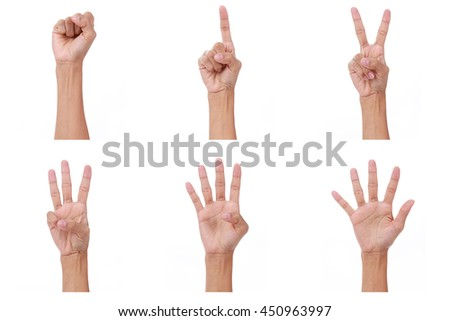 Hand count.woman hands show the number zero,one, two, three, four,five on white background - stock photo