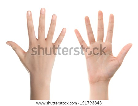 Hand counting: five. Isolated on white  - stock photo