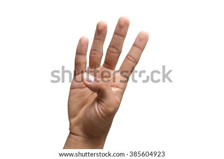 hand counting number four  isolated on white background, with clipping path - stock photo