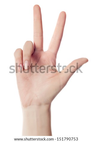 hand counting - three fingers. Isolated on white - stock photo