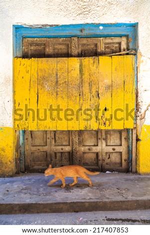 Hand crafted wooden door post at Stone Town, Zanzibar - stock photo
