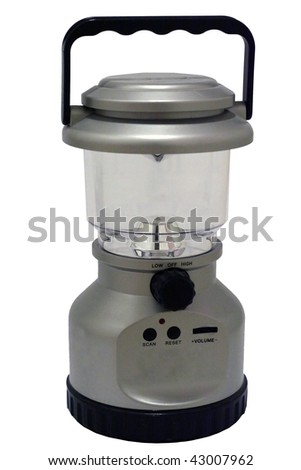 Hand cranked lantern and radio isolated - stock photo