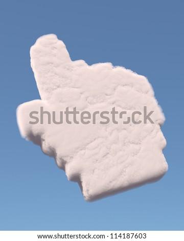 Hand cursor symbol made of cloud - stock photo