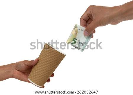 hand donating a euro bill into a cup - stock photo