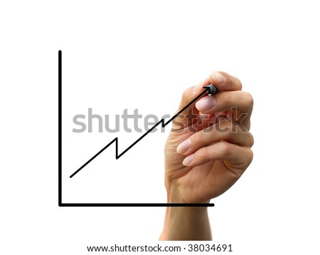 hand draw a chart isolated on white background - stock photo