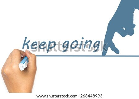 Hand draw a line for finger walking as Keep Going concept - stock photo