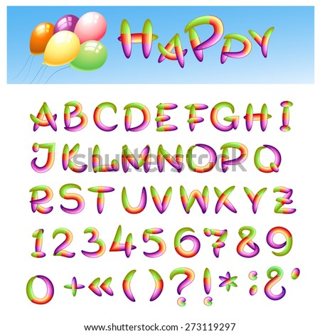 Hand draw alphabet made in kid style. Caps letters, punctuation signs and numbers. - stock photo