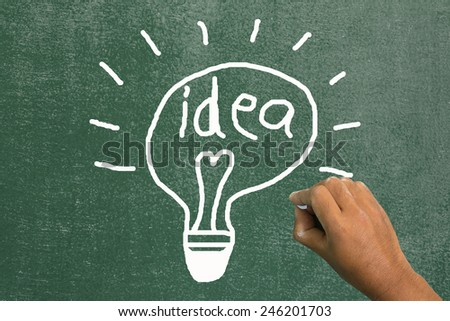 Hand draw at idea on chalkboard - stock photo