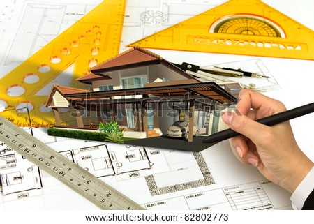 Hand draw Blueprint of a house - stock photo