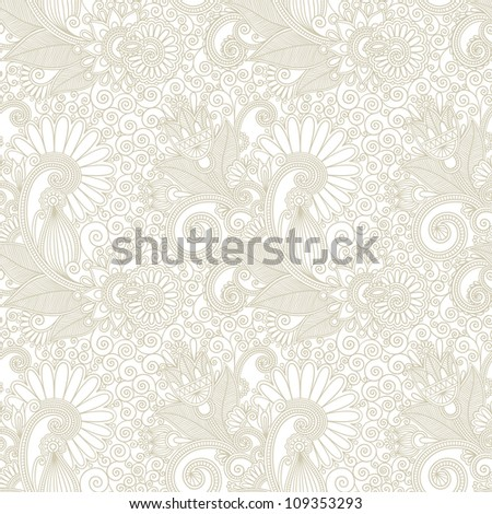hand draw ornate seamless flower paisley design background. Raster version - stock photo