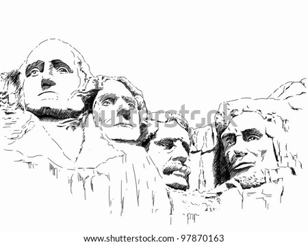 hand draw picture of Mount Rushmore - stock photo
