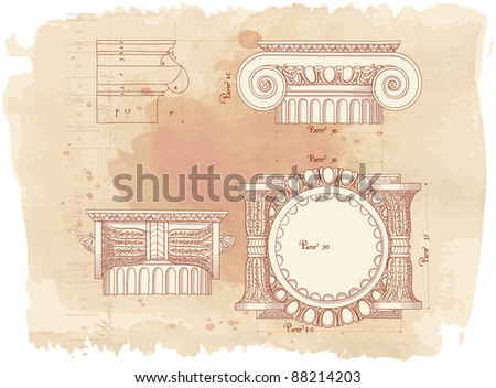 Hand draw sketch ionic architectural order & vintage watercolor background. Bitmap copy my vector id 87989023 - stock photo