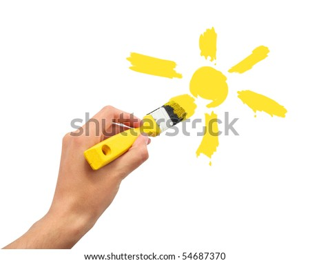 Hand draw the cartoon sun. Conceptual design. - stock photo
