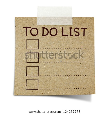 hand draw to do list on note taped recycle paper - stock photo