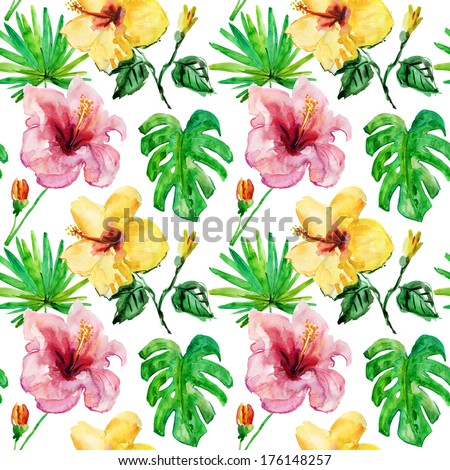 hand draw tropical flower,blossom cluster seamless pattern background - stock photo