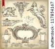 hand draw vintage sketch ornamental design element of Lviv facade historical building, Ukraine. Vector set: calligraphic design elements and page decoration. Raster version - stock photo