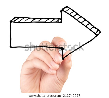 Hand drawing a big arrow isolated on white background  - stock photo