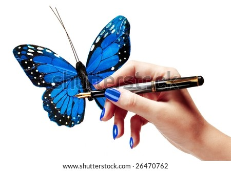 Hand drawing a butterfly - stock photo