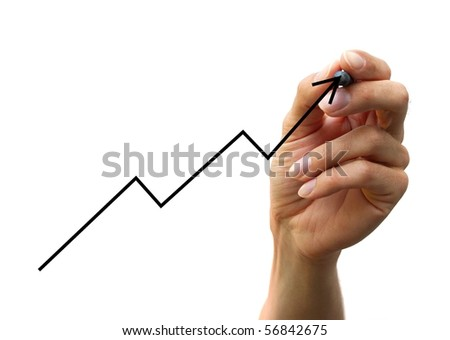 hand drawing a chart isolated on white background - stock photo