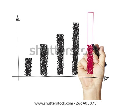 hand drawing a chart isolated on whiteboard - stock photo