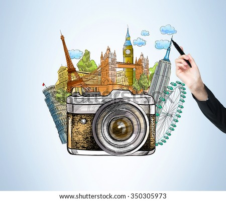 hand drawing a coloured illustration of landmarks of London, Paris, New York, Pisa such as Big Ben, London Eye, Notre Dame, Empire State Building, Tower Bridge, Pisa Tower, photo camera at the front. - stock photo