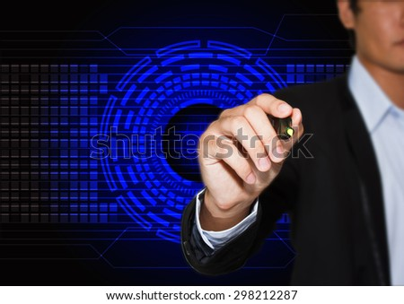 hand drawing a graph with abstract technology futuristic blue innovation background - stock photo