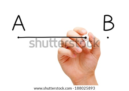 Hand drawing a line from point A to point B with black marker on transparent wipe board. - stock photo