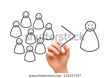 Hand drawing a teamwork concept with marker on transparent wipe board. A good team is more than the sum of individuals! - stock photo