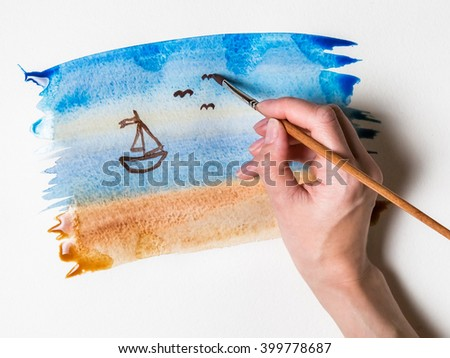 hand drawing abstract watercolor illustration in shades of sea landscape with ship - stock photo