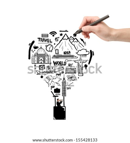 hand drawing air balloon with businessman - stock photo
