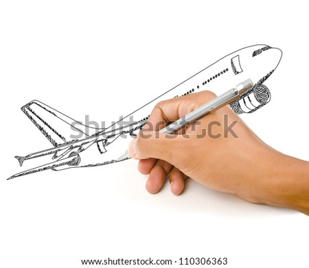 Hand Drawing Airplane for travel around the world. - stock photo
