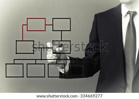 hand drawing an organization chart on a board - stock photo