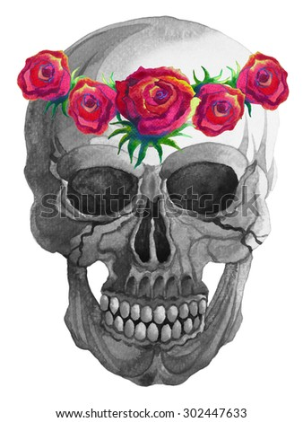 hand drawing and watercolor painting sugar skull day of the dead,  los dia de, with rose crown vintage style - stock photo