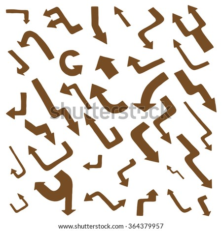Hand drawing Art Brown arrow collection isolated on white background - stock photo