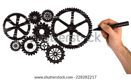 Hand drawing black gears isolated on white background - stock photo