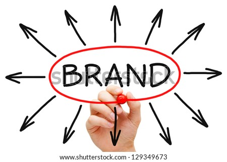 Hand drawing Brand concept with red marker on transparent wipe board. - stock photo