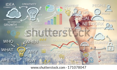 Hand drawing business strategy concepts with chalk - stock photo