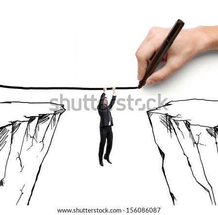 hand drawing businessman hanging by a rope and rock - stock photo