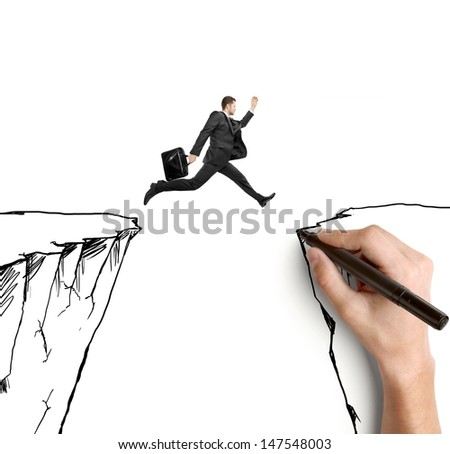 hand drawing businessman jumping  from rock to rock - stock photo