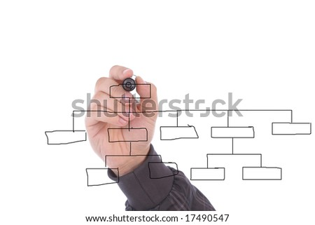 Hand drawing chart in whiteboard, isolated on white - stock photo