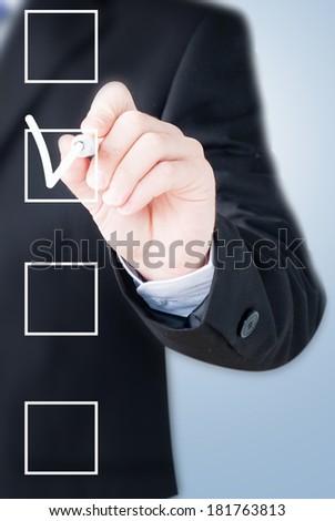 hand drawing check box - stock photo